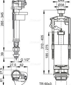 SA2000S 1/2 – Set mecanism WC cu actionare simpla