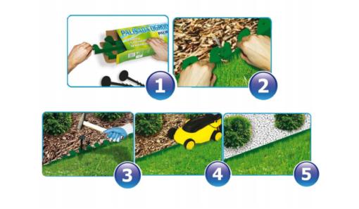 Bordura pentru separarea gazonului, PalisGarden, culoare Verde, lungime 3 m + 12 cuie din plastic GeoPEG pentru fixare