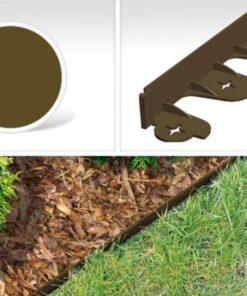 Bordura pentru separarea gazonului, PalisGarden, culoare Maro, lungime 3 m + 12 cuie din plastic GeoPEG pentru fixare