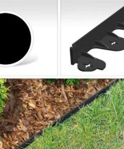 Bordura pentru separarea gazonului, PalisGarden, culoare Negru, lungime 3 m + 12 cuie din plastic GeoPEG pentru fixare