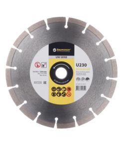 Disc diamantat UNIVERSAL U230 230×22.2×1.6 mm pentru tăierea uscată a betonului armat ușor, cărămidă, beton spumant, dale pentru pavaj, piatră naturală