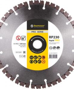 Disc diamantat Rapid 1A1RSS / C3-H 230 x 22.23 pentru lucrări de mare viteză