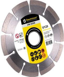 Disc diamantat Baumesser Universal 1A1RSS / C3 125 x 22.23 destinat tăierii uscate a betonului, gresiei, plăcilor de pavaj, a cărămizii
