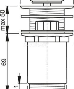 Ventil lavoar click-clack 5/4 A391, metalic cu preaplin, dop mic