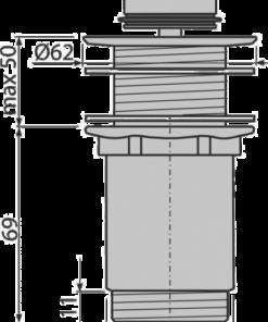 Ventil lavoar click/clack, Alca Plast, 5/4″, metalic fara preaplin, dop mare, A395