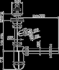 Sifon lavoar DN32 cu sita din otel inoxidabil DN63 si legatura la masina de spalat A410P