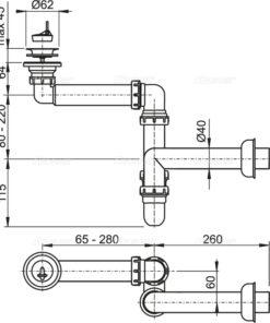 Sifon lavoar pentru economie spatiu DN63 A413