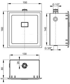 DISPOZITIV DE CLaTIRE AUTOMATa A PISOARULUI, CROMAT, 12 V, ASP4